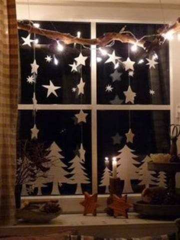 adornos de navidad para ventanas con luces
