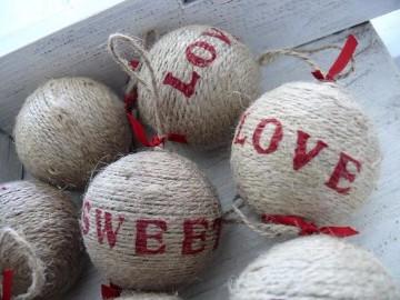 adornos navideños con arpillera para arbol
