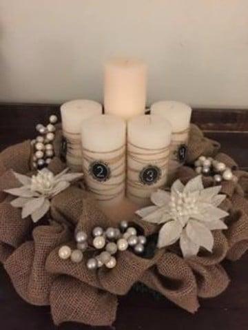 adornos navideños con arpillera para velas
