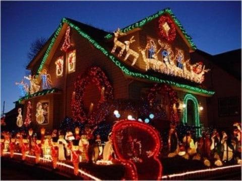 casas con luces navideñas decorativas
