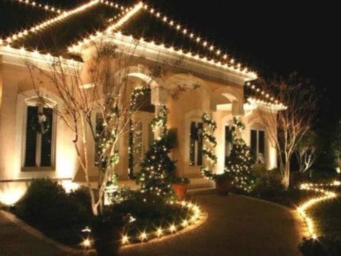casas con luces navideñas para decorar