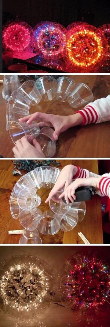como hacer adornos con luces de navidad