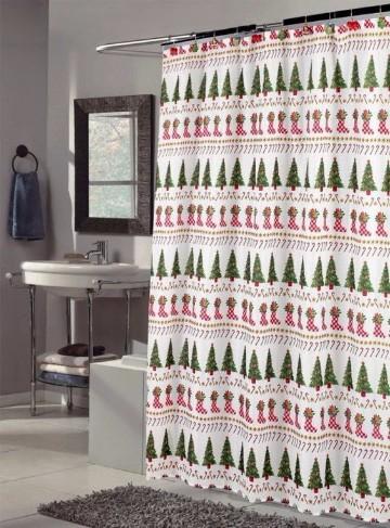 cortinas de baño navideñas de arboles