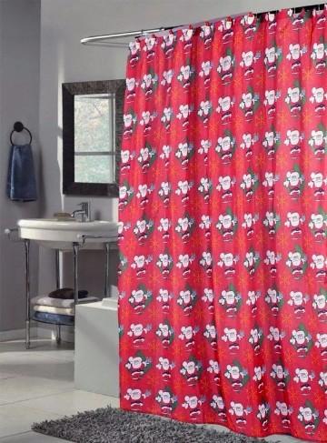 cortinas de baño navideñas de santa
