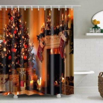 cortinas de baño navideñas para decorar