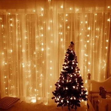 cortinas de luces navideñas para sala