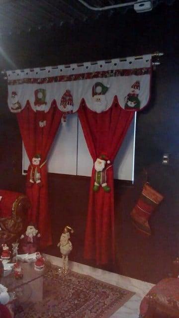 cortinas navideñas para sala con santa