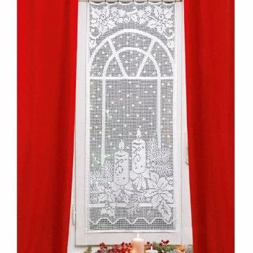 cortinas navideñas para sala roja y blanca