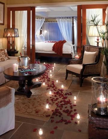 cuartos decorados de amor con petalos