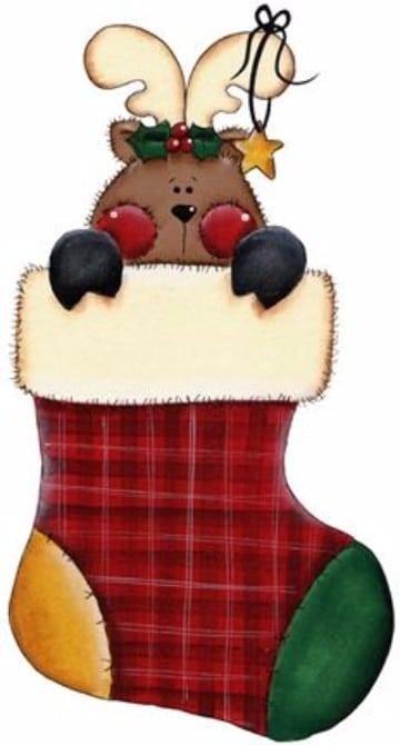 dibujos de botas navideñas con un venado
