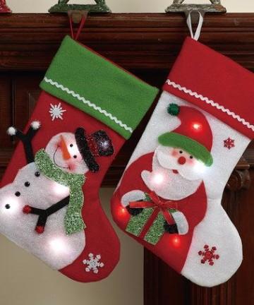 diseños de botas navideñas con luces