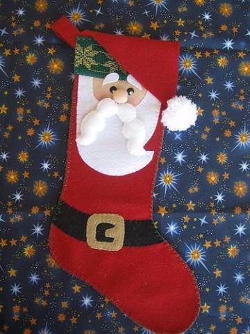 diseños de botas navideñas con santa