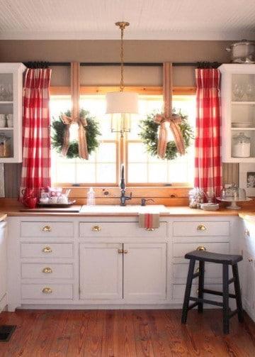 imagenes de cortinas navideñas para cocina