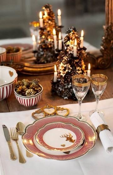 mesas decoradas para año nuevo en dorado