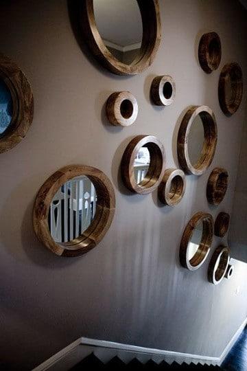 paredes decoradas con espejos de marcos