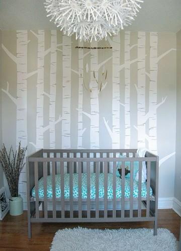 paredes decoradas para bebes con arboles