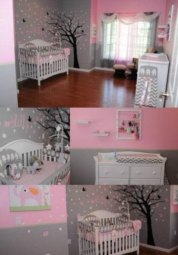 paredes decoradas para bebes en rosado