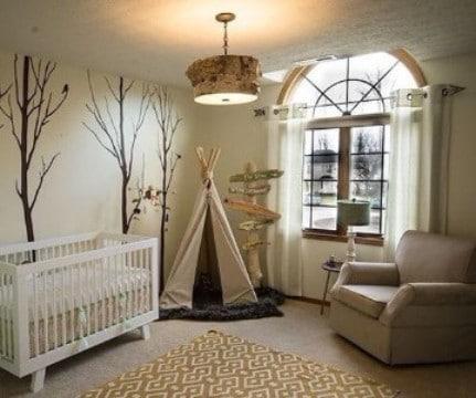 paredes decoradas para bebes rustico