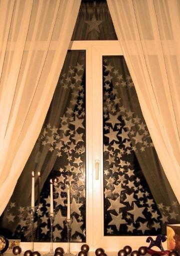 sencillos adornos de navidad para ventanas