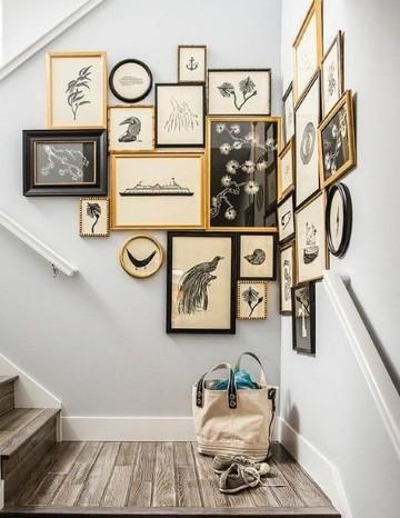 cuadros para decorar escaleras pajaros