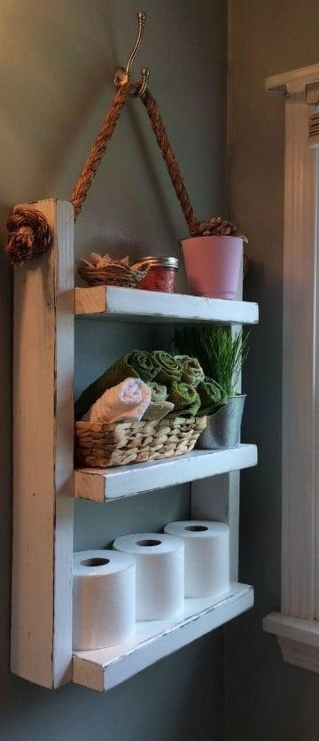 estantes de madera para baño colgante