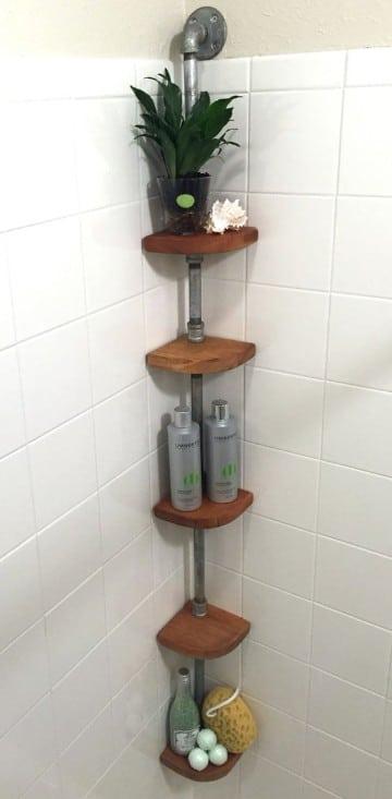 estantes de madera para baño esquinero