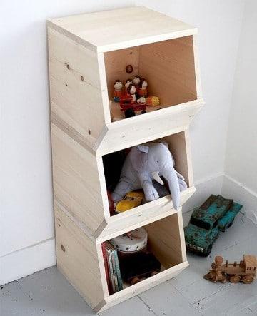 estantes para guardar juguetes de madera