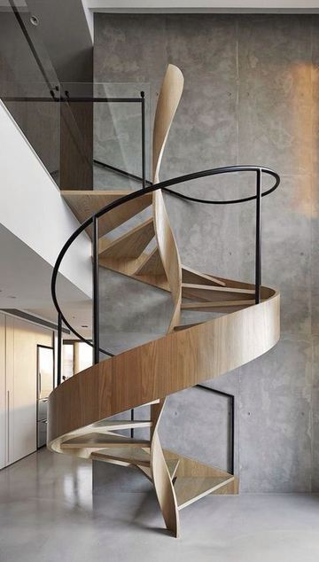 fotos de escaleras de madera modernas