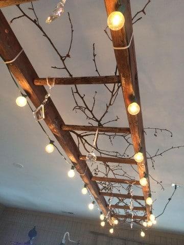 lamparas de techo de madera escalera