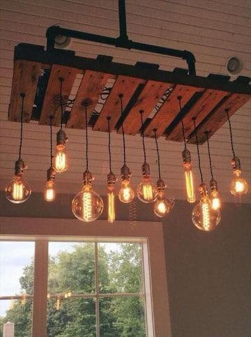 lamparas de techo de madera paletas