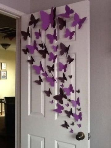 mariposas de papel para decorar puertas