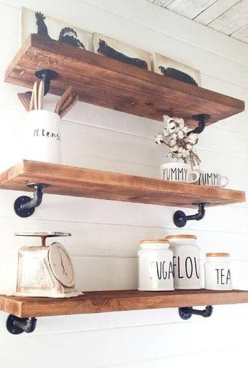 repisas de madera para cocina diseños