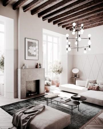 salas pequeñas con chimenea minimalista
