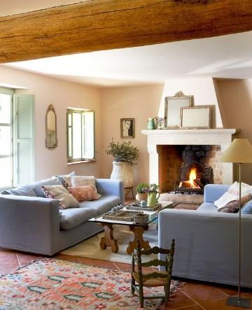 salas pequeñas con chimenea rustico