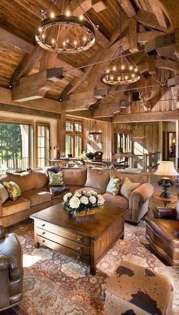 salas rusticas de madera campo