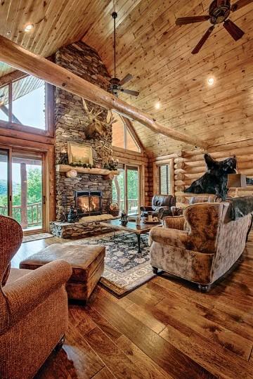 salas rusticas de madera con chimenea