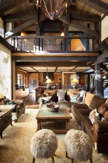 salas rusticas de madera grande