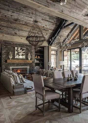 salas rusticas de madera moderna