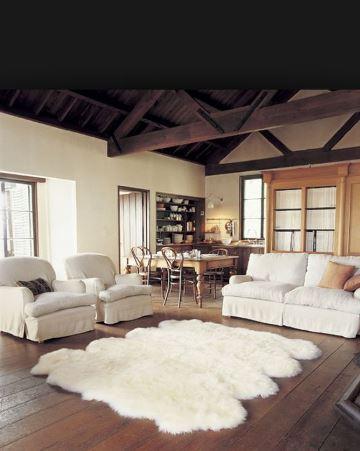 alfombras blancas peludas para sala