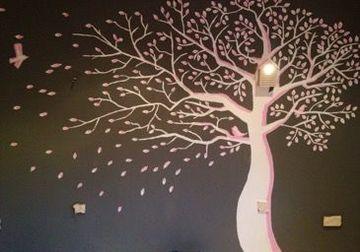 arboles dibujados en la pared de la habitaciòn