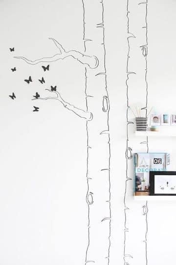 arboles dibujados en la pared facil de hacer