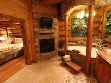 baños abiertos al dormitorio en cabañas