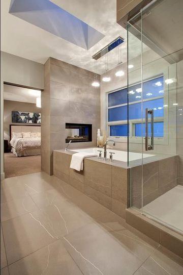 baños abiertos al dormitorio modernos