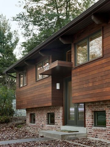 cabañas de ladrillo y madera moderna