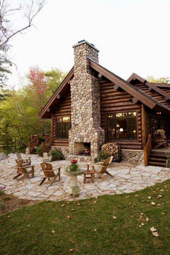 cabañas de troncos y piedras moderna