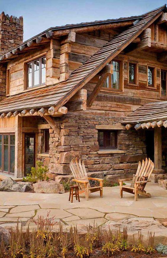 cabañas de troncos y piedras