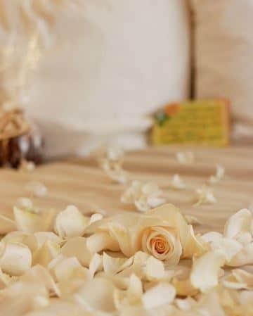 camas decoradas con rosas petalos