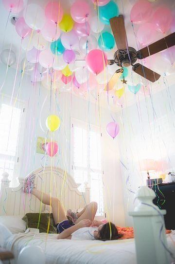 cuartos arreglados con globos niña
