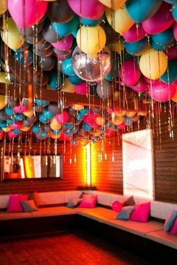 Una original decoracion con globos en el techo como for Decoracion con fotos en pared