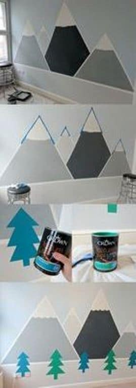 como pintar una pared con diseño de montaña
